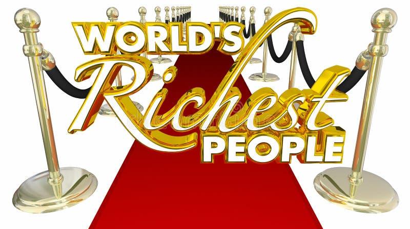 Rikedom för pengar för elit för röd matta för folk för världar rikast royaltyfri illustrationer