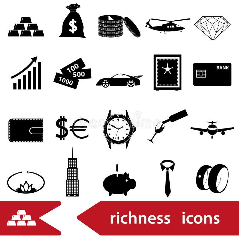Rikedom- och för pengartemasvart symboler ställde in eps10 vektor illustrationer