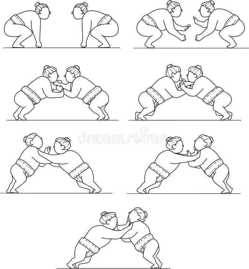 Rikishi Sumobrottare som brottas den mono linjen samlingsuppsättning vektor illustrationer