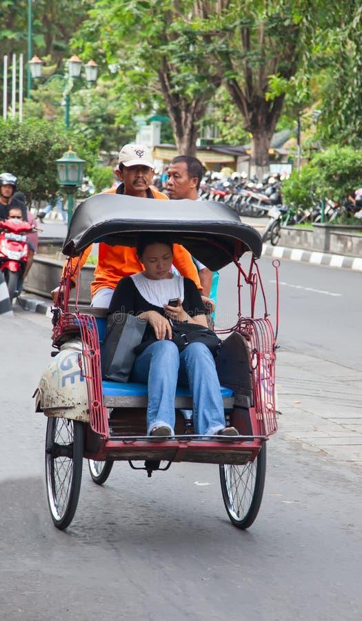 Rikshaw de la bicicleta imagenes de archivo