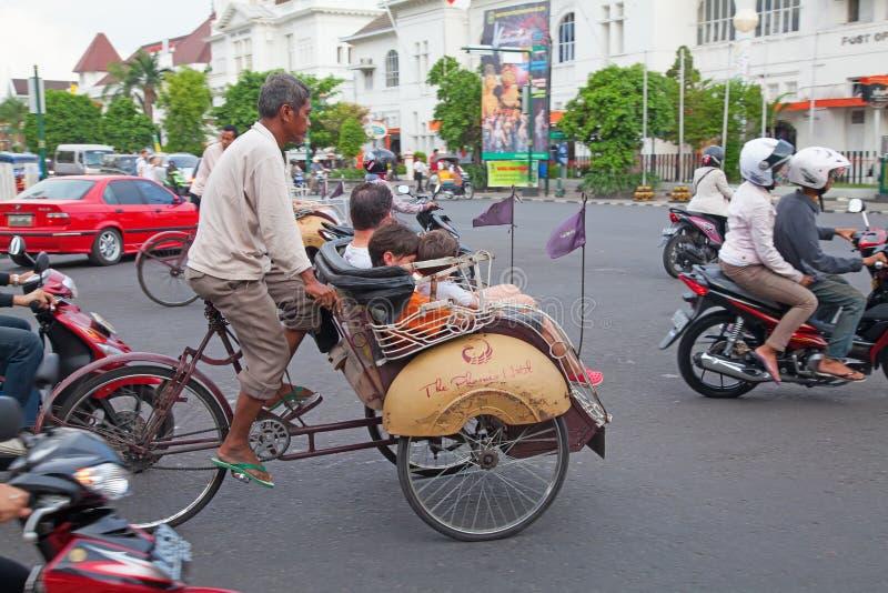 Rikshaw de la bicicleta imagen de archivo libre de regalías