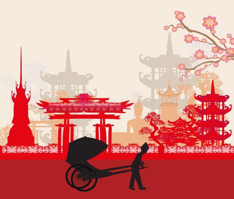 Riksza i azjata krajobraz ilustracja wektor