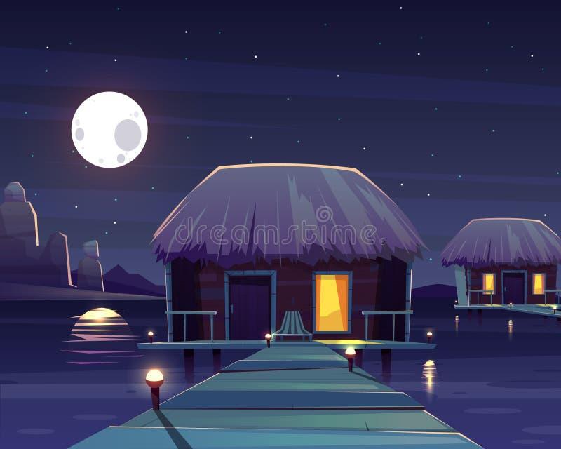 Rikt hotell för vektor på högar på natten royaltyfri illustrationer