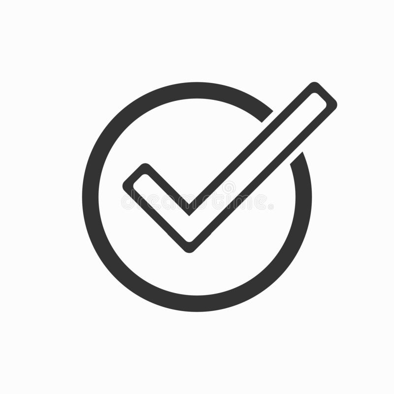 Riktig symbol, kontroll, fläck, ja stock illustrationer