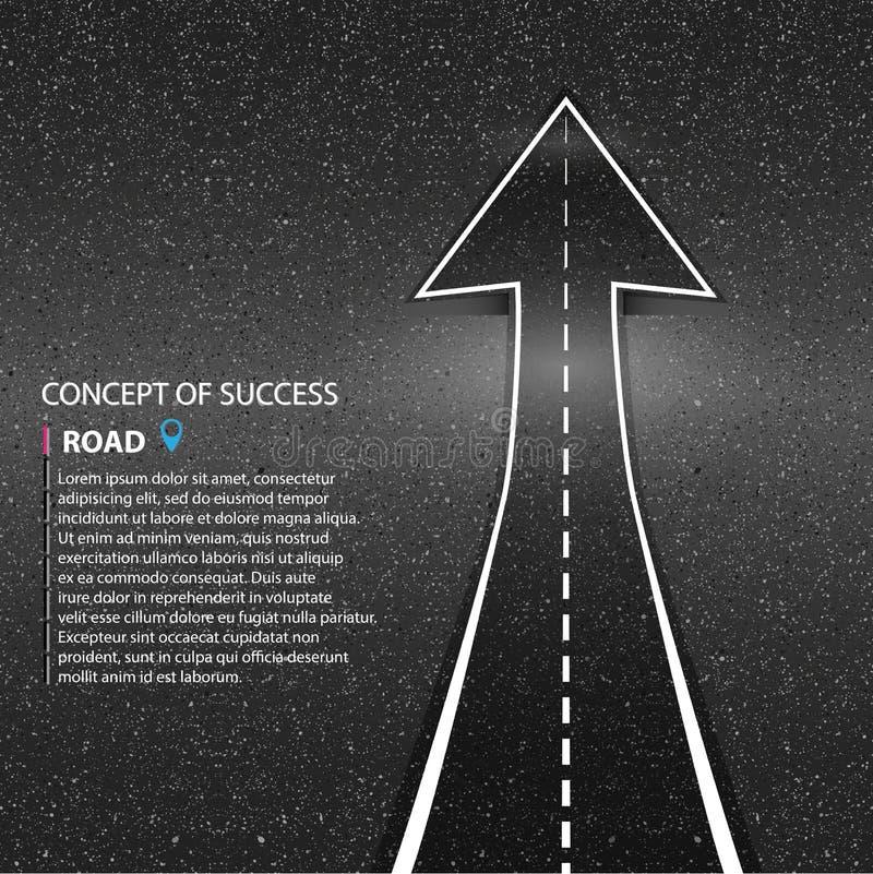 Riktning av vägen asfaltera diagrammet egeer din ställevägtextur där Begreppsnollan royaltyfri illustrationer
