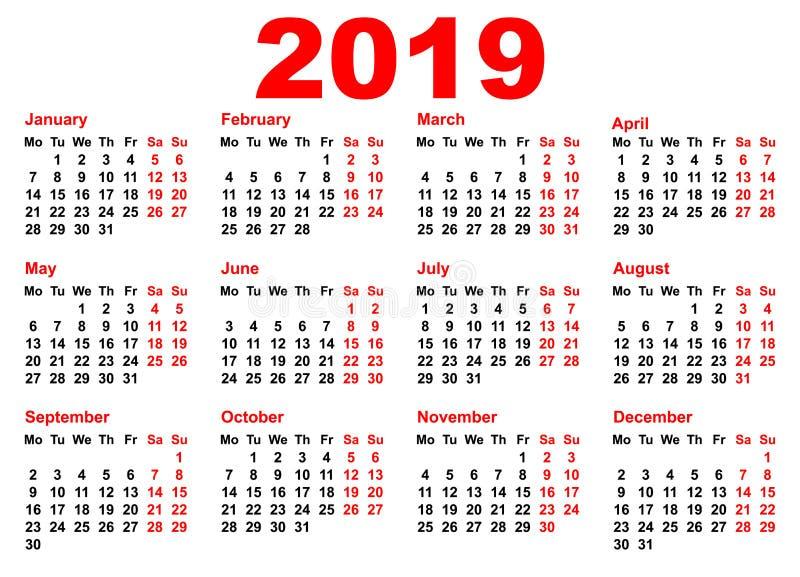 riktning för fack för raster för 2019 år kalendermall horisontal stock illustrationer