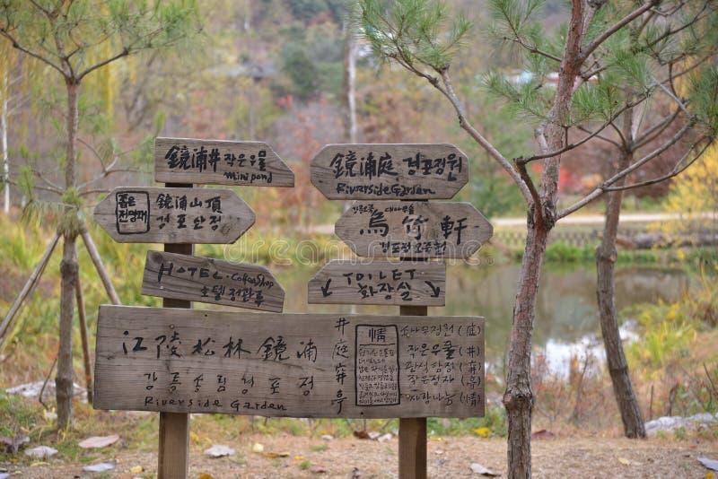 Riktning för Namisum öKorea träväg arkivfoton