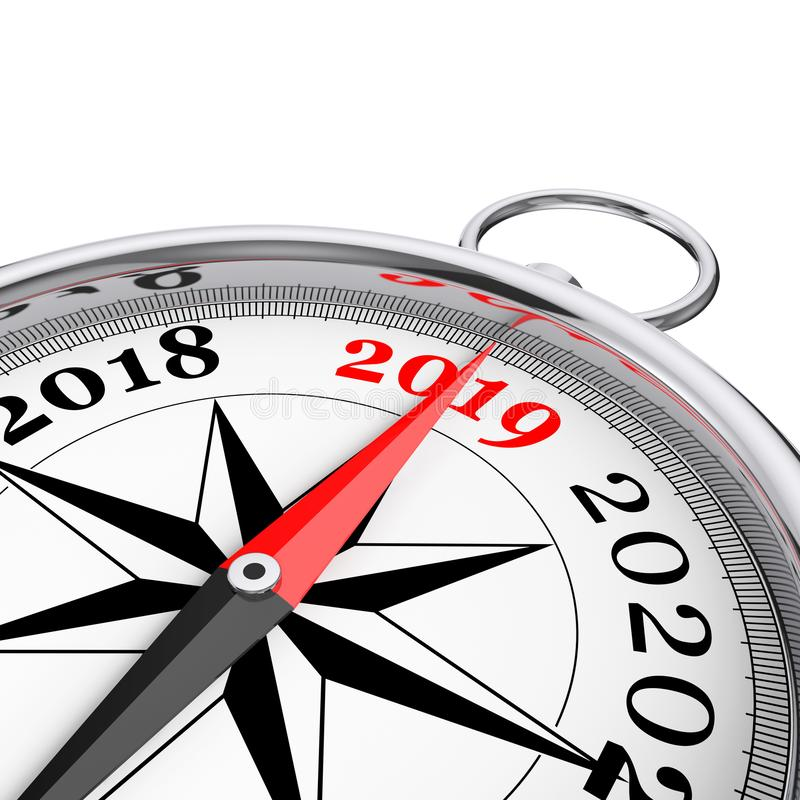 Riktning till den nya 2019 år begreppsmässiga kompasscloseupen 3d framför vektor illustrationer