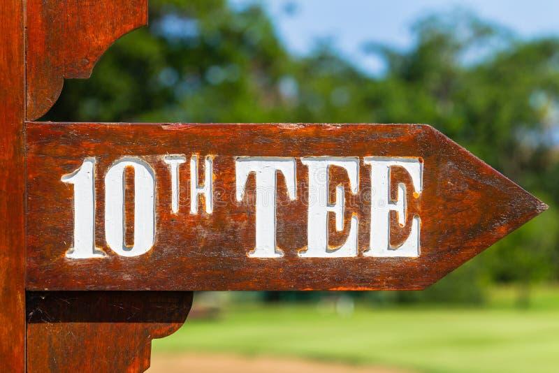 Riktningar för utslagsplats för golfbanatecken 10th fotografering för bildbyråer