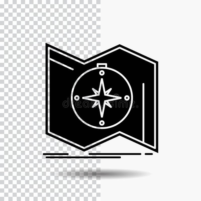 Riktningen undersöker, kartlägger, navigerar, navigeringskårasymbolen på genomskinlig bakgrund Svart symbol royaltyfri illustrationer