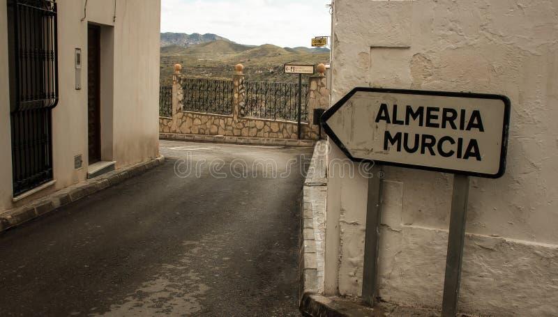 Riktningen undertecknar in Spanien arkivbilder