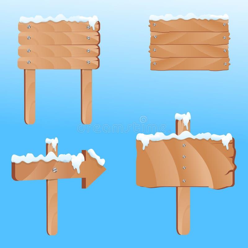 Riktningsbräde med snow stock illustrationer