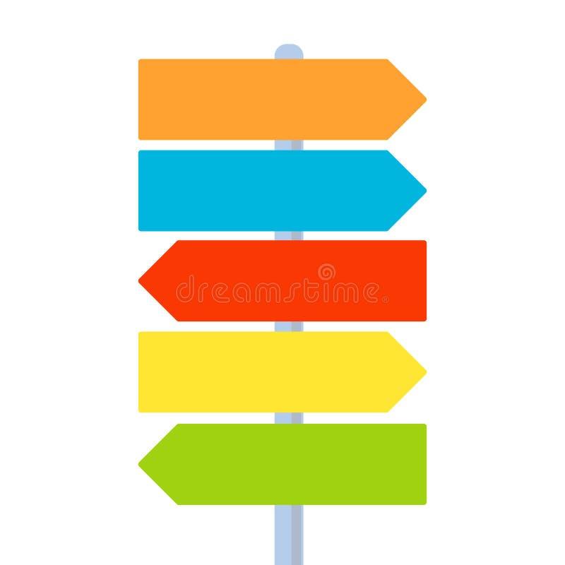 Riktningspekare för flerfärgat tecken Navigeringpil, vänstersida och rätt riktning Välja banan, destination, mål som får resultat stock illustrationer