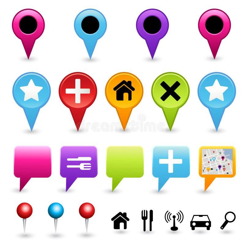 riktningssymbolsöversiktsset royaltyfri illustrationer