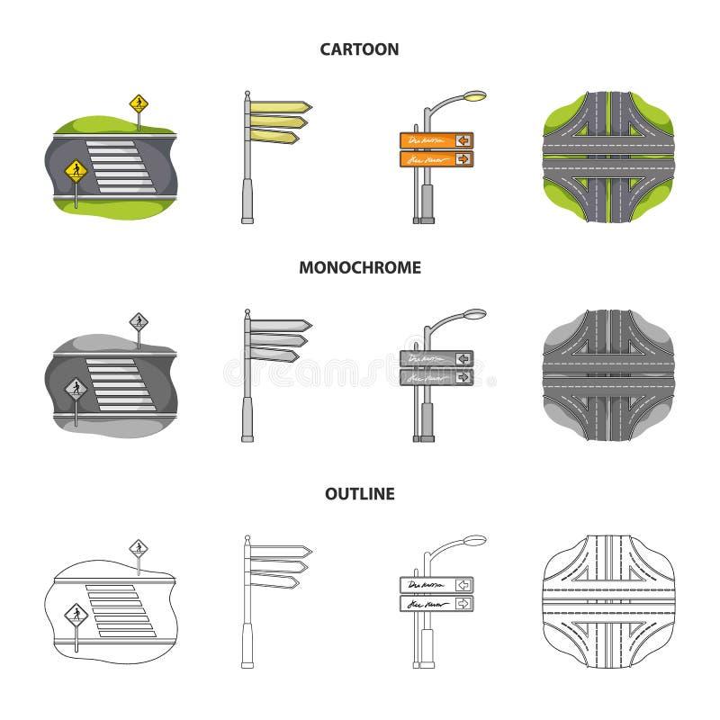 Riktningstecken och annan rengöringsduksymbol i tecknade filmen, översikt, monokrom stil Vägföreningspunkter och teckensymboler i vektor illustrationer