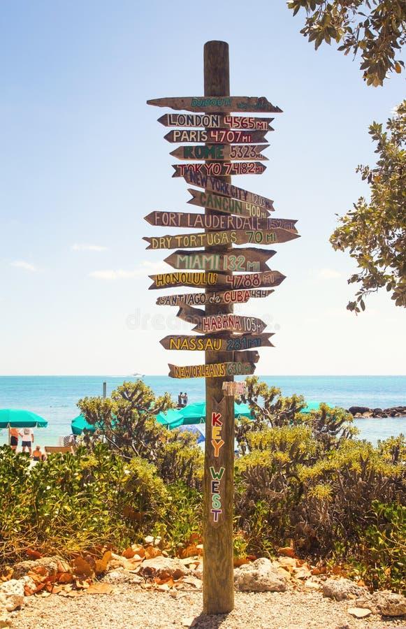 Riktningsvägvisare på den sydligast punkten av USA Key West, fortZachary Taylor Historic State Park tropisk sandig strand royaltyfria foton