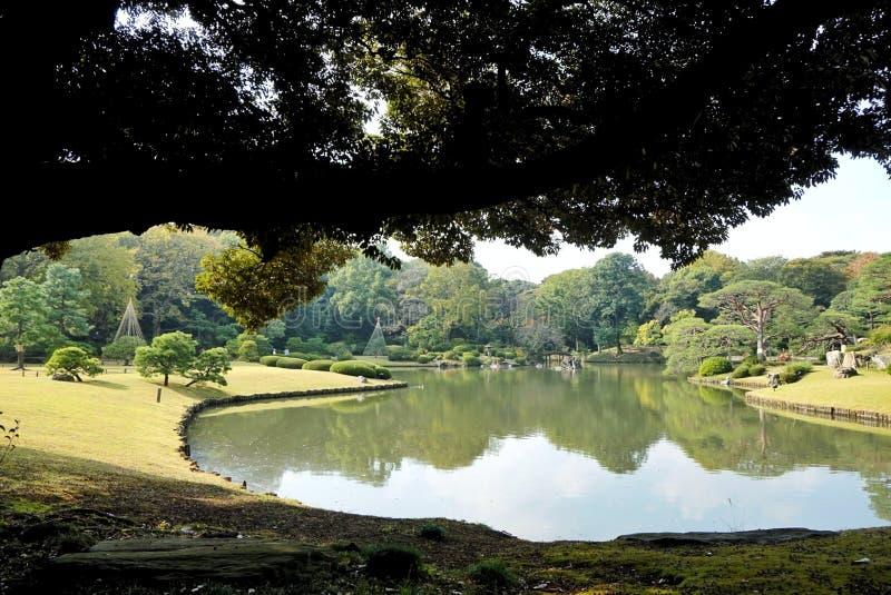 Rikugi庭院在东京,日本 免版税库存照片