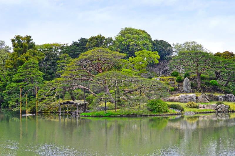 Rikugien trädgård av Tokyo arkivfoto
