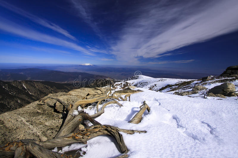 Rila. Landscape of the Rila Mountains in late winter royalty free stock image