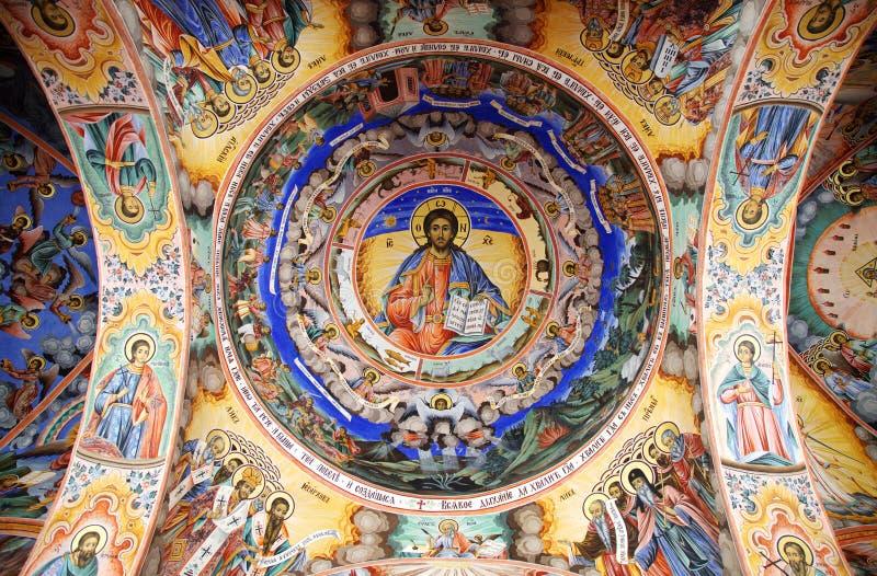 rila för frescojesus kloster royaltyfri foto