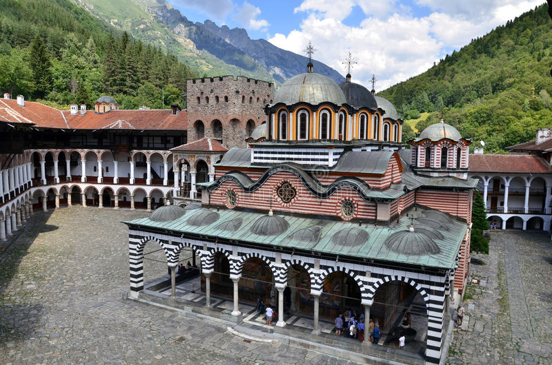 Rila Kloster in Bulgarien stockfotos