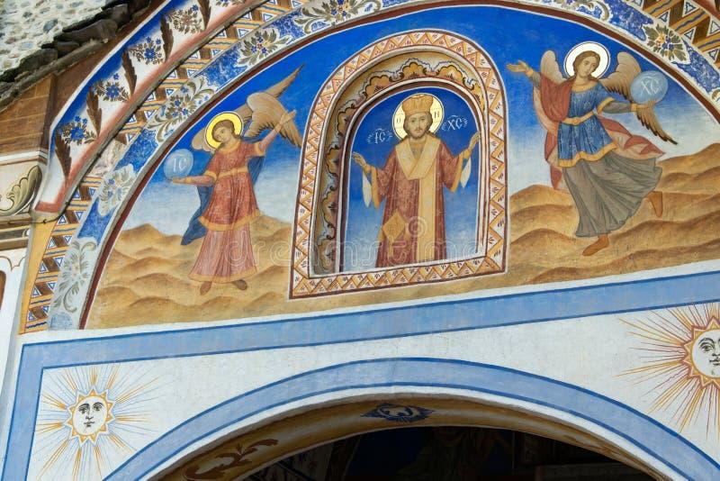 Rila-Kloster, Bulgarien - religiöse Freskos auf den Bibelabhandlungen stockfotos