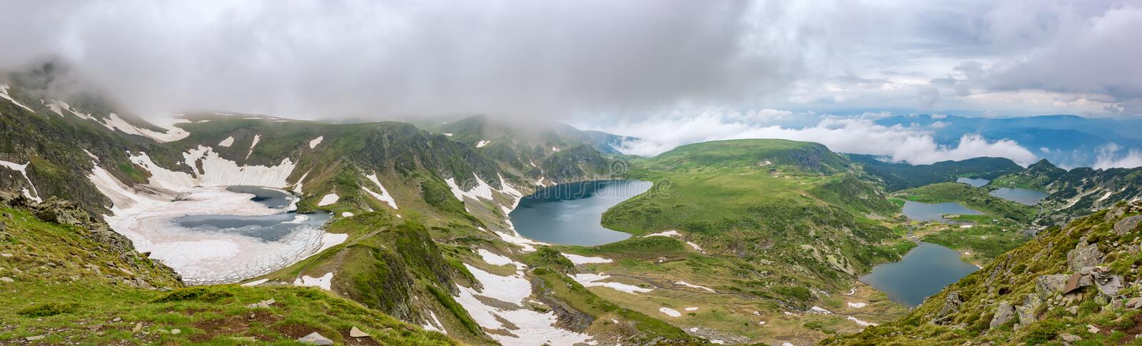 Rila lakes. Magnificent panoramic view of six of the famous Seven Rila Lakes in spring time stock images
