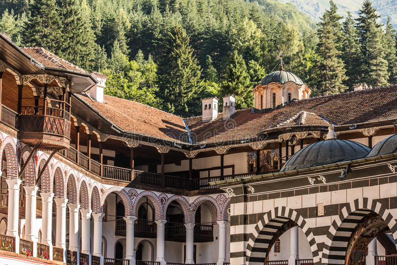 Rila Monastary Rooftop and dormitory royalty free stock photography