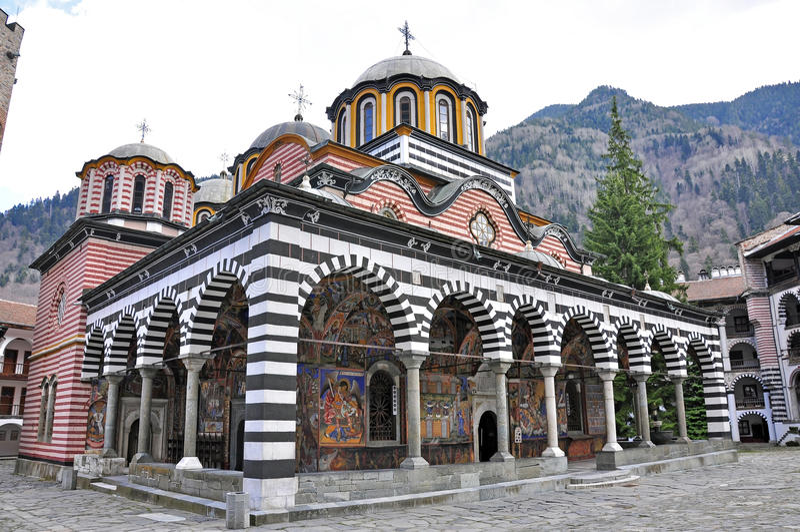 Rila monastery. Garden in southern bulgaria near sofia stock images