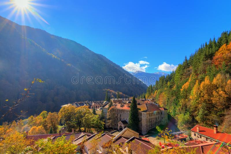 Rila monastery valley sunrise. Beautiful view of the Orthodox Rila Monastery, a famous tourist attraction and cultural heritage monument in the Rila Nature Park stock images