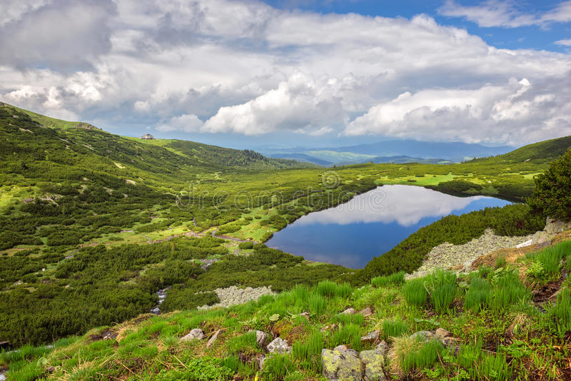 Rila mountains. Magnificent spring view of the Rila mountains and one of its famous Seven Rila lakes stock photos