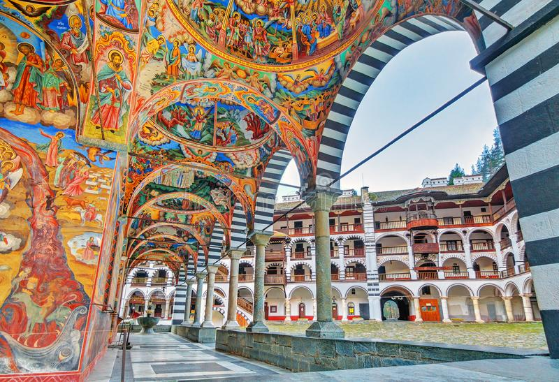 Rila vibrant decoration. Beautiful view of the vibrant decoration of the Orthodox Rila Monastery, a famous tourist attraction and cultural heritage monument in stock photo