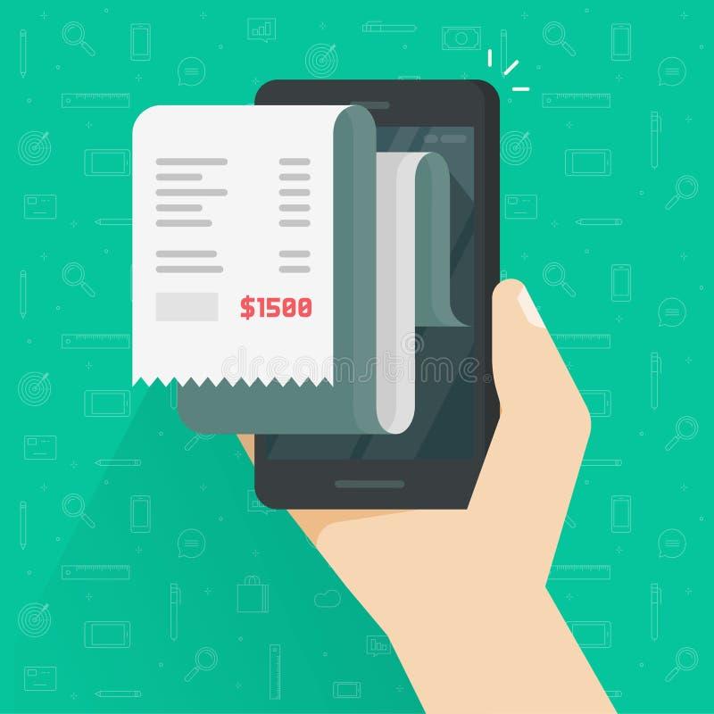 Rilasci una ricevuta la fattura sull'illustrazione di vettore dello smartphone, fattura piana della carta del fumetto sul telefon illustrazione di stock
