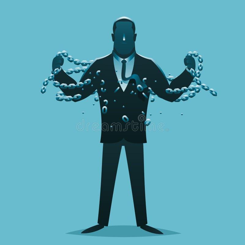 Rilascio dell'uomo d'affari che rompe l'illustrazione di vettore di concetto di affari di progettazione della siluetta del fumett illustrazione di stock