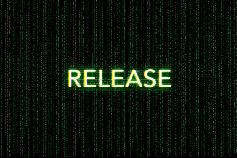 Rilascio, parola chiave della mischia, su un fondo verde della matrice fotografie stock libere da diritti