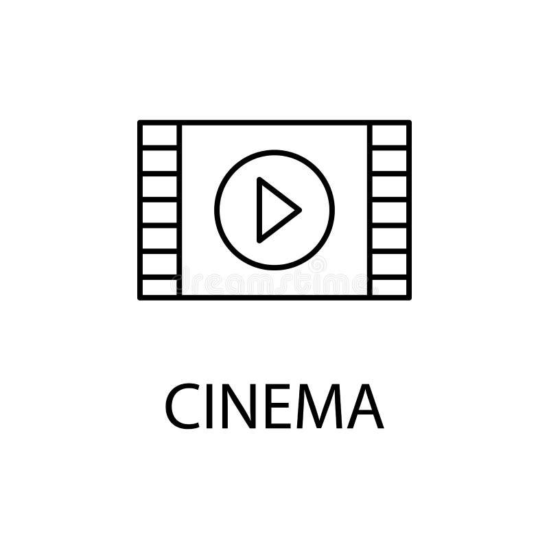 rilassamento nell'icona del cinema Elemento dell'icona di ricreazione per i apps mobili di web e di concetto La linea sottile ril illustrazione di stock
