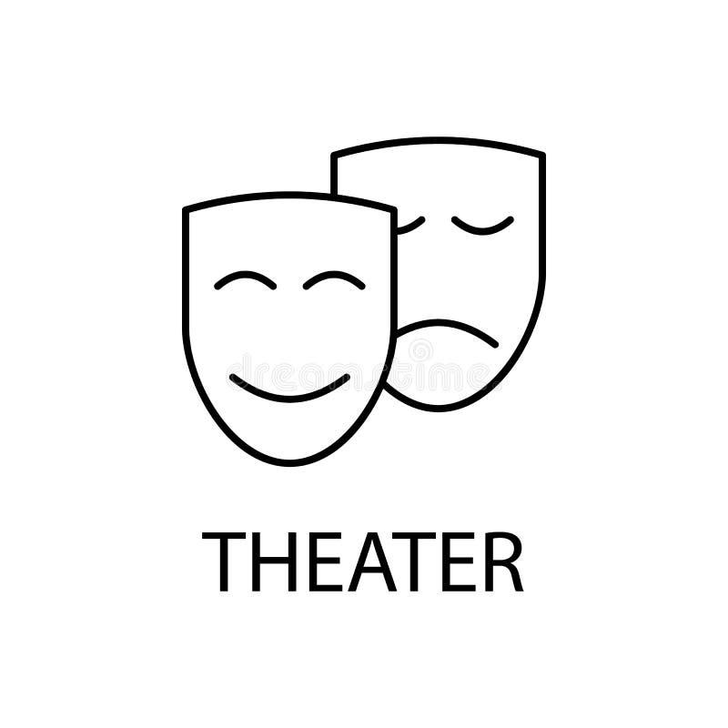 rilassamento nell'icona del teatro Elemento dell'icona di ricreazione per i apps mobili di web e di concetto La linea sottile ril illustrazione di stock