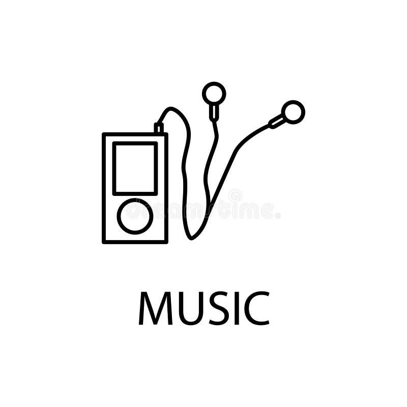 rilassamento nell'icona di musica Elemento dell'icona di ricreazione per i apps mobili di web e di concetto La linea sottile rila illustrazione vettoriale