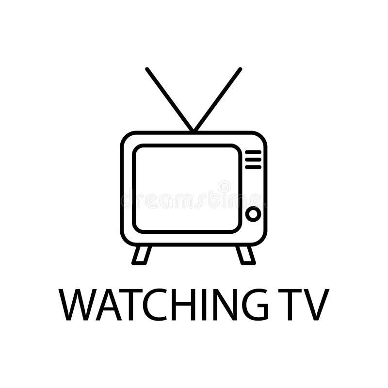 rilassamento nella sorveglianza dell'icona della TV Elemento dell'icona di ricreazione per i apps mobili di web e di concetto Lin royalty illustrazione gratis