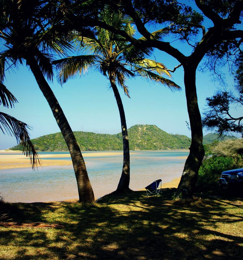 Rilassandosi all'ombra di una palma alla baia di Kosi, il Sudafrica immagine stock libera da diritti