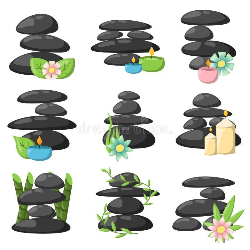Rilassi l'insieme di vettore delle pietre della stazione termale illustrazione vettoriale