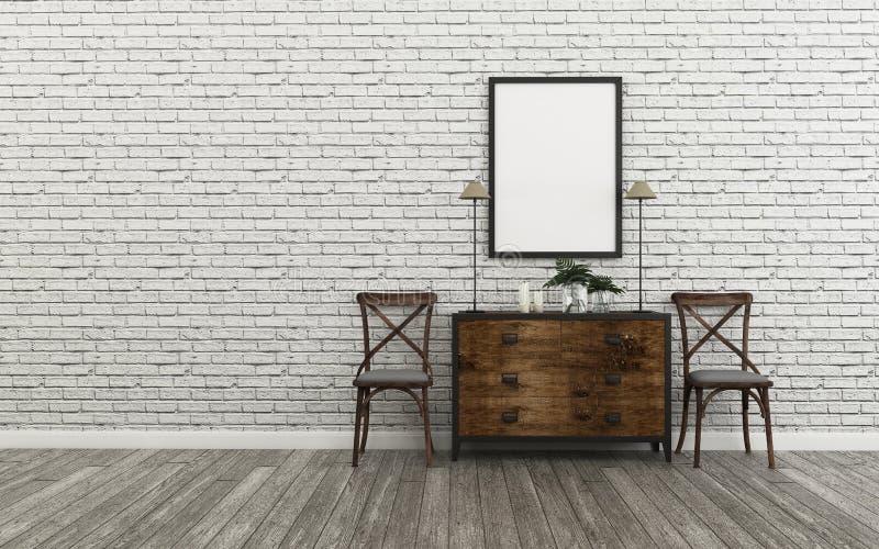 Rilassi lo spazio in casa muro di mattoni e vecchio pavimento di legno nella passeggiata nel closset Disegno interno classico illustrazione di stock