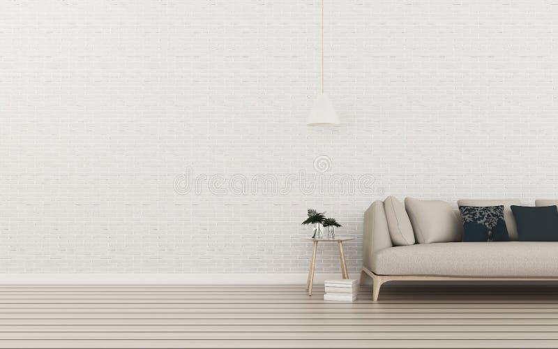 Rilassi lo spazio con fondo muro di mattoni e pavimento di legno in salone illustrazione vettoriale