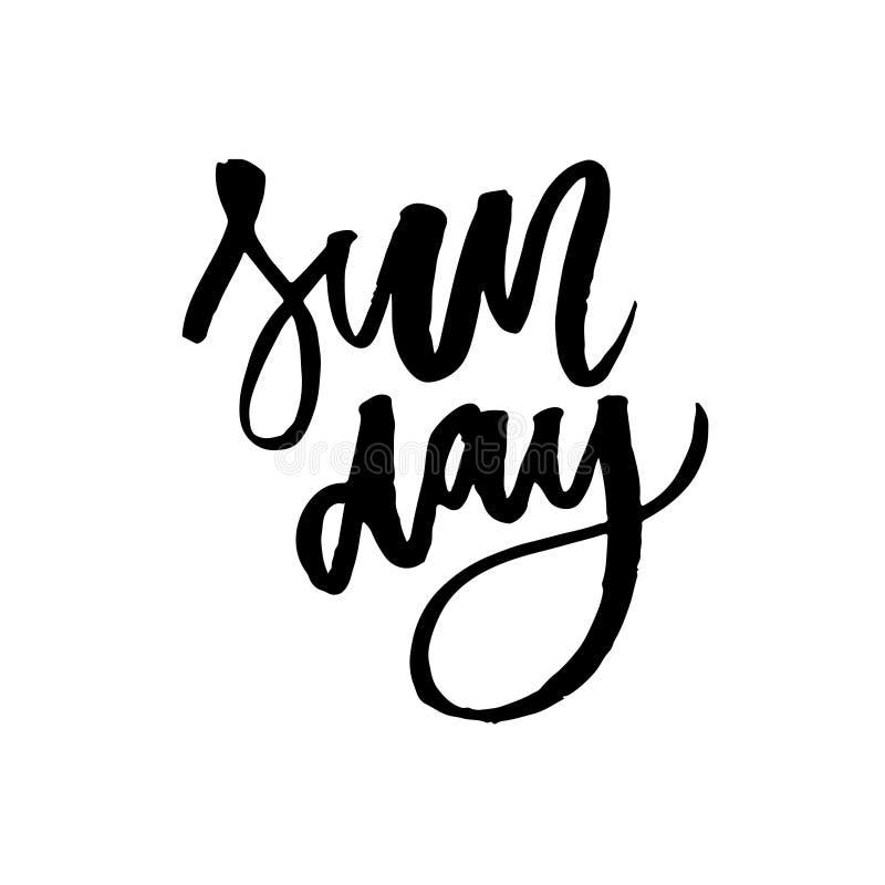 Rilassi it' s domenica Frase disegnata a mano dell'iscrizione isolata su fondo bianco Illustrazione di vettore illustrazione di stock