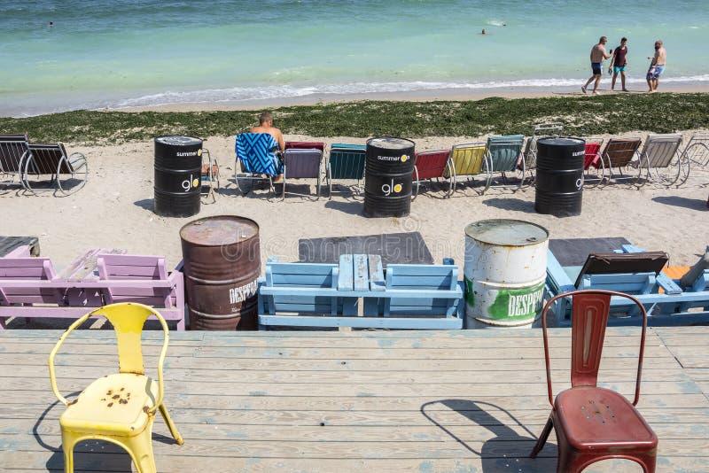 Rilassi sulla spiaggia di Vama Veche, Romania immagine stock libera da diritti