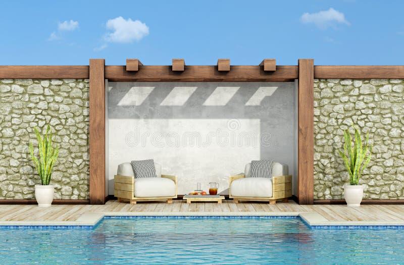 Rilassi in un giardino con la piscina royalty illustrazione gratis