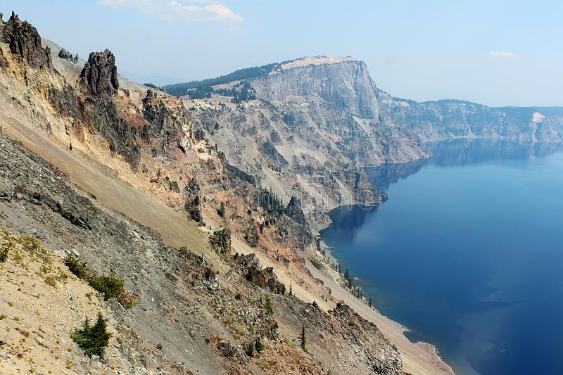 Rim of Crater Lake in Summer, with Lake stock photos