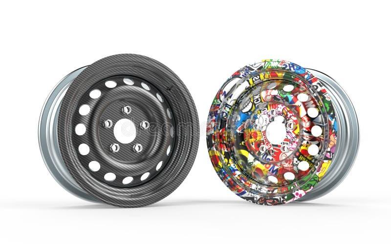 Rim 3d rendering carbon fiber royalty free stock image