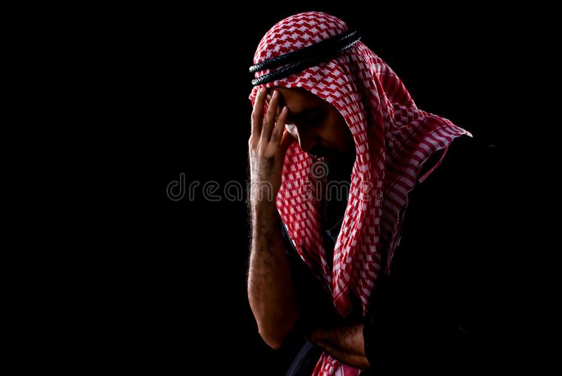 Rim light and portrait of muslim man got stress and pressure stock photos