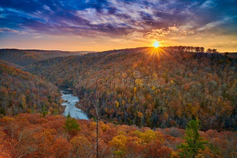 Rim Overlook del este - río nacional grande y zona de recreo, TN de South Fork imagen de archivo libre de regalías